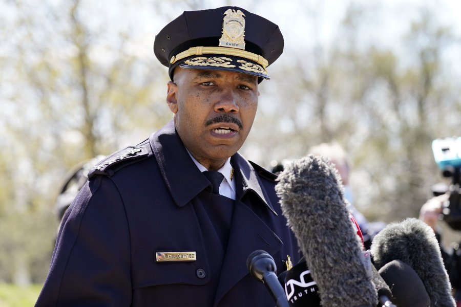 FILE - In this April 2, 2021, file photo, Washington Metropolitan Police Department chief Robert Contee speaks during a news conference in Washington. Political hand-wringing in Washington over Russia's hacking of federal agencies and meddling in U.S. politics has mostly overshadowed a worsening digital scourge with a far broader wallop: crippling and dispiriting extortionary ransomware attacks by cybercriminal mafias. All the while, ransomware gangsters have become more brazen and cocky as they put more and more lives and livelihoods at risk. This week, one syndicate threatened to make available to local criminal gangs data they say they stole from the Washington, D.C., metro police on informants.