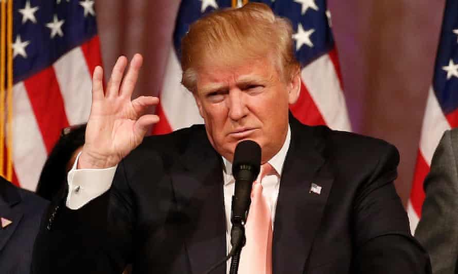Дональд Трамп выступает на пресс-конференции после победы на праймериз во Флориде в Уэст-Палм-Бич, штат Флорида, в марте 2016 года.