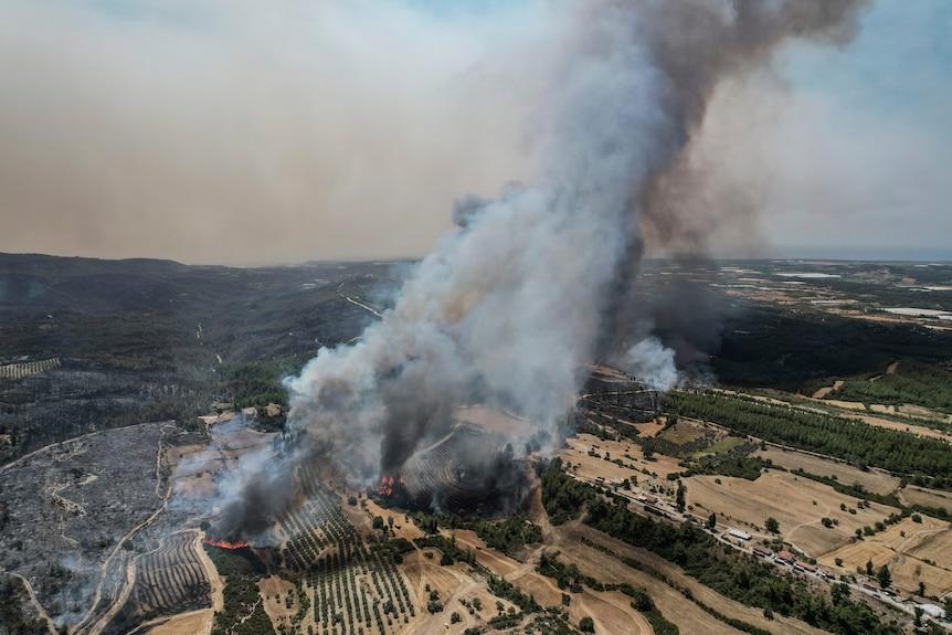Аэрофотоснимок, показывающий лесные пожары в деревне Какарлар недалеко от средиземноморского прибрежного города Манавгат, Турция.