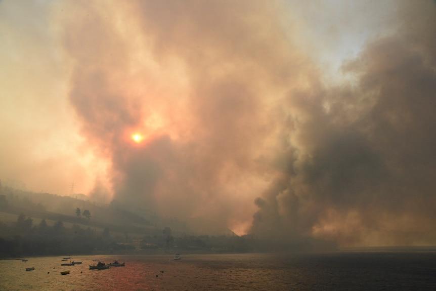 Дым поднимается во время лесного пожара возле деревни Лампери, к западу от Патр, Греция