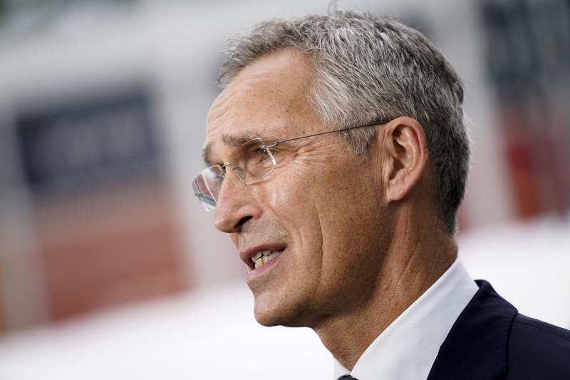 Jens Stoltenberg, NATO Secretary General, is interviewed outside the United Nations headquarters, Tuesday, Sept. 21, 2021, during the 76th Session of the U.N. General Assembly in New York. (AP Photo)