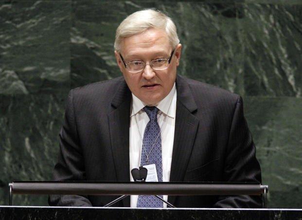 Sergei Ryabkov speaks at the United Nations headquarters